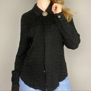 Black western button down long sleeve top
